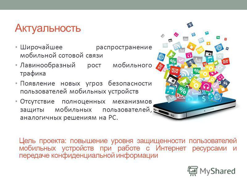 Актуальность Широчайшее распространение мобильной сотовой связи Лавинообразный рост мобильного трафика Появление новых угроз безопасности пользователей мобильных устройств Отсутствие полноценных механизмов защиты мобильных пользователей, аналогичных