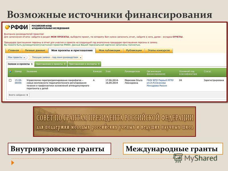 Возможные источники финансирования Внутривузовские гранты Международные гранты