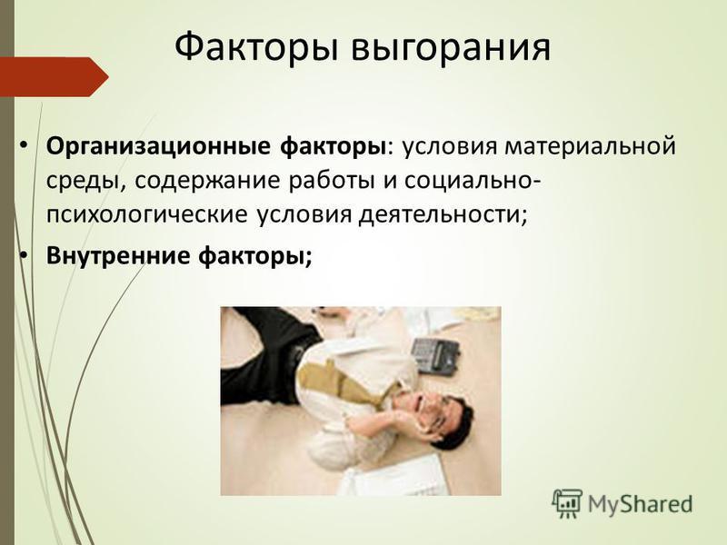 Факторы выгорания Организационные факторы: условия материальной среды, содержание работы и социально- психологические условия деятельности; Внутренние факторы;