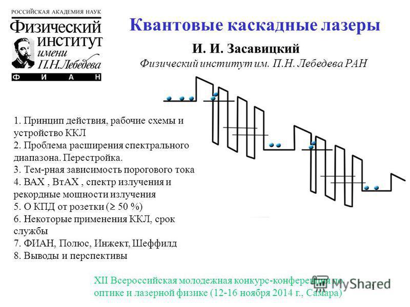 11 Квантовые каскадные лазеры И. И. Засавицкий Физический институт им. П.Н. Лебедева РАН 1. Принцип действия, рабочие схемы и устройство ККЛ 2. Проблема расширения спектрального диапазона. Перестройка. 3. Тем-рная зависимость порогового тока 4. ВАХ,
