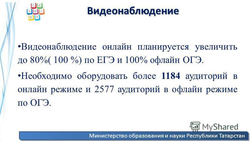 Министерство образования и науки Республики Татарстан Видеонаблюдение Видеонаблюдение Видеонаблюдение онлайн планируется увеличить до 80%( 100 %) по ЕГЭ и 100% офлайн ОГЭ. Необходимо оборудовать более 1184 аудиторий в онлайн режиме и 2577 аудиторий в