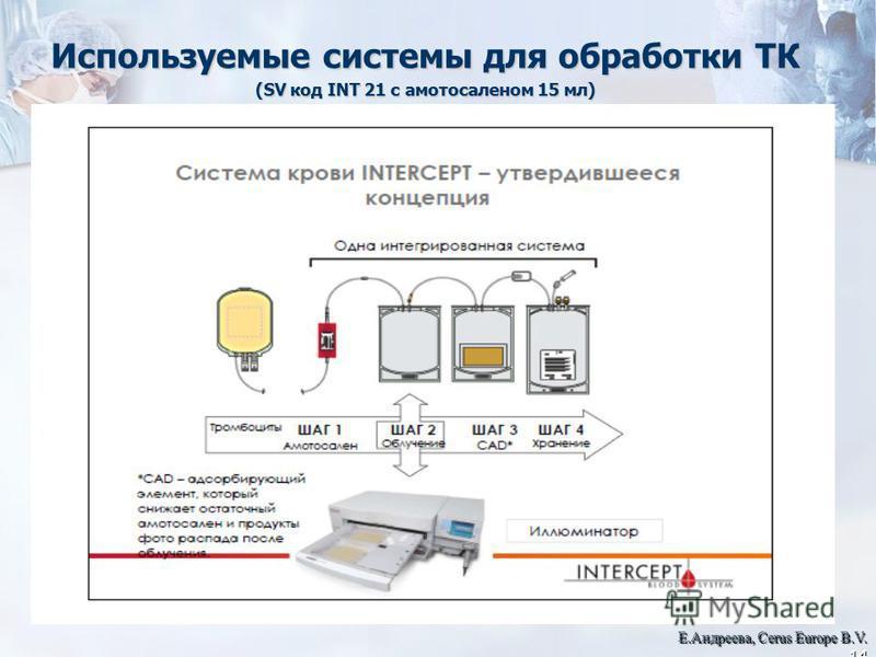 Используемые системы для обработки ТК (SV код INT 21 с амотосаленом 15 мл) Е.Андреева, Cerus Europe B.V. 14