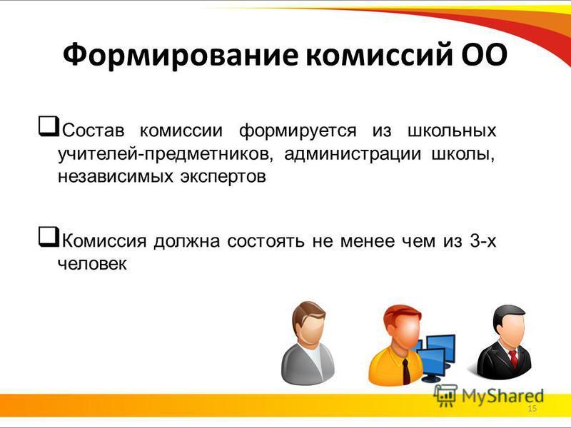 Состав комиссии формируется из школьных учителей-предметников, администрации школы, независимых экспертов Комиссия должна состоять не менее чем из 3-х человек Формирование комиссий ОО 15