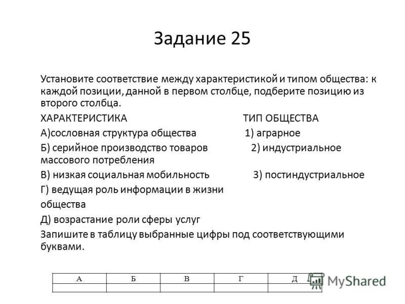Задание 25 Установите соответствие между характеристикой и типом общества: к каждой позиции, данной в первом столбце, подберите позицию из второго столбца. ХАРАКТЕРИСТИКА ТИП ОБЩЕСТВА A)сословная структура общества 1) аграрное Б) серийное производств