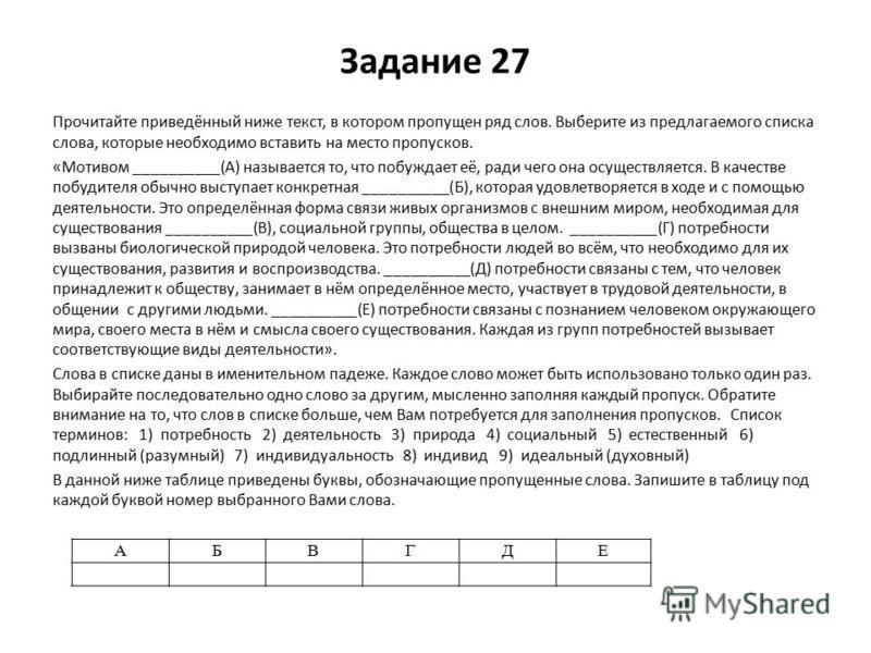 Задание 27 Прочитайте приведённый ниже текст, в котором пропущен ряд слов. Выберите из предлагаемого списка слова, которые необходимо вставить на место пропусков. «Мотивом __________(А) называется то, что побуждает её, ради чего она осуществляется. В