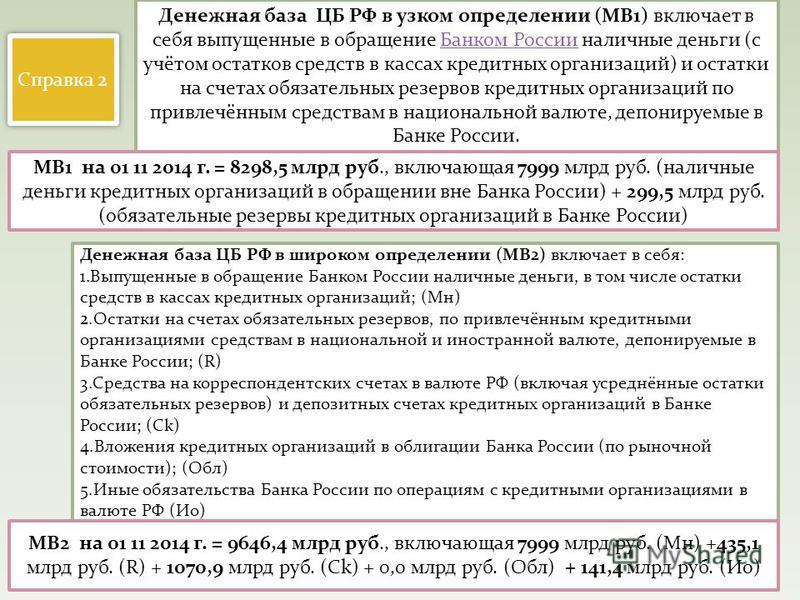 Денежная база ЦБ РФ в узком определении (MB1) включает в себя выпущенные в обращение Банком России наличные деньги (с учётом остатков средств в кассах кредитных организаций) и остатки на счетах обязательных резервов кредитных организаций по привлечён