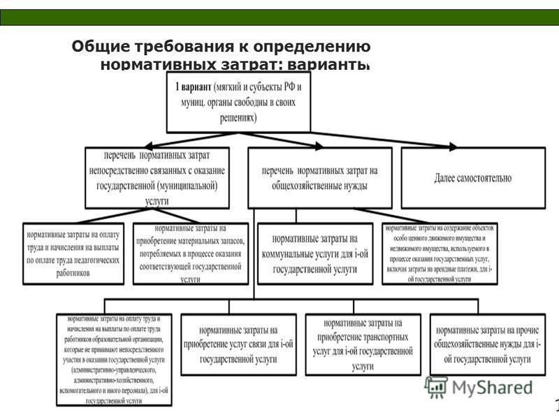 Общие требования к определению нормативных затрат: варианты млрд. рублей 1 8