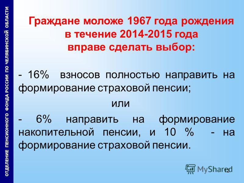 12 - 16% взносов полностью направить на формирование страховой пенсии; или - 6% направить на формирование накопительной пенсии, и 10 % - на формирование страховой пенсии. Граждане моложе 1967 года рождения в течение 2014-2015 года вправе сделать выбо