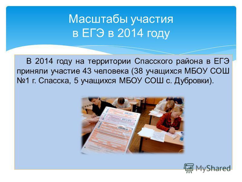В 2014 году на территории Спасского района в ЕГЭ приняли участие 43 человека (38 учащихся МБОУ СОШ 1 г. Спасска, 5 учащихся МБОУ СОШ с. Дубровки). Масштабы участия в ЕГЭ в 2014 году