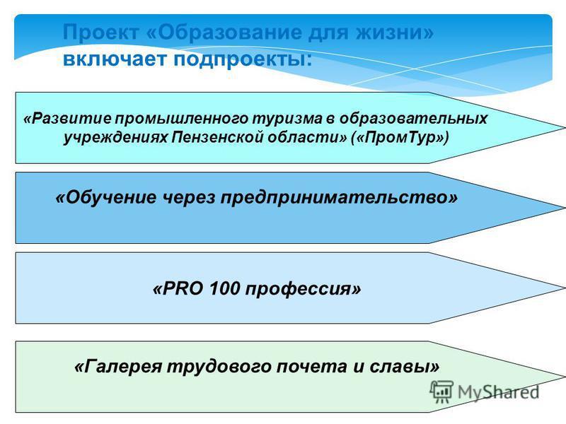 Проект «Образование для жизни» включает под проекты: «Развитие промышленного туризма в образовательных учреждениях Пензенской области» («Пром Тур») «Обучение через предпринимательство» «PRO 100 профессия» «Галерея трудового почета и славы»