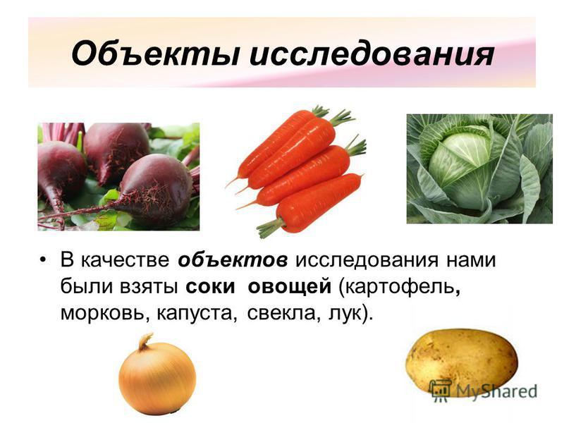 Объекты исследования В качестве объектов исследования нами были взяты соки овощей (картофель, морковь, капуста, свекла, лук).