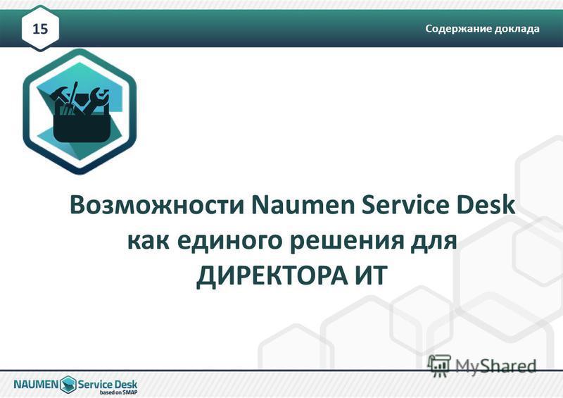 Содержание доклада 15 Возможности Naumen Service Desk как единого решения для ДИРЕКТОРА ИТ