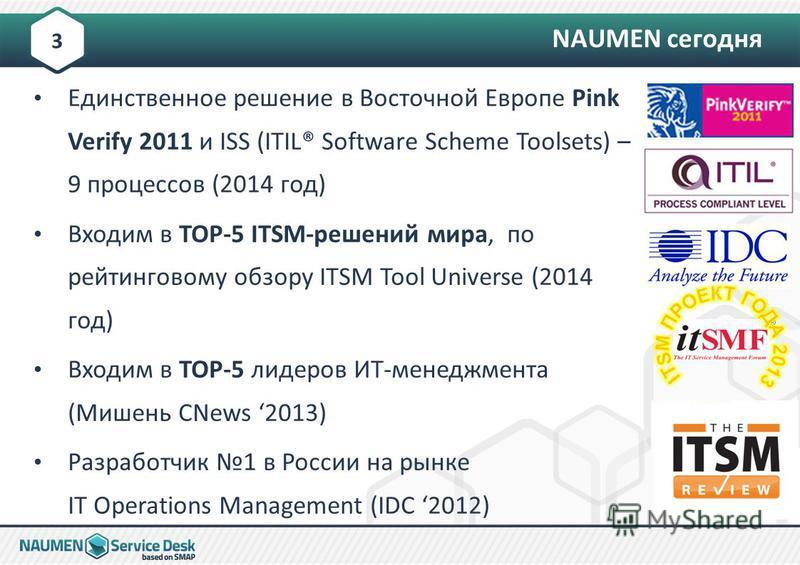 Единственное решение в Восточной Европе Pink Verify 2011 и ISS (ITIL® Software Scheme Toolsets) – 9 процессов (2014 год) Входим в TOP-5 ITSM-решений мира, по рейтинговому обзору ITSM Tool Universe (2014 год) Входим в TOP-5 лидеров ИТ-менеджмента (Миш