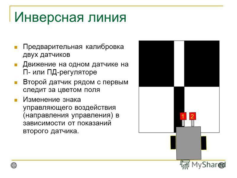 Инверсная линия Предварительная калибровка двух датчиков Движение на одном датчике на П- или ПД-регуляторе Второй датчик рядом с первым следит за цветом поля Изменение знака управляющего воздействия (направления управления) в зависимости от показаний