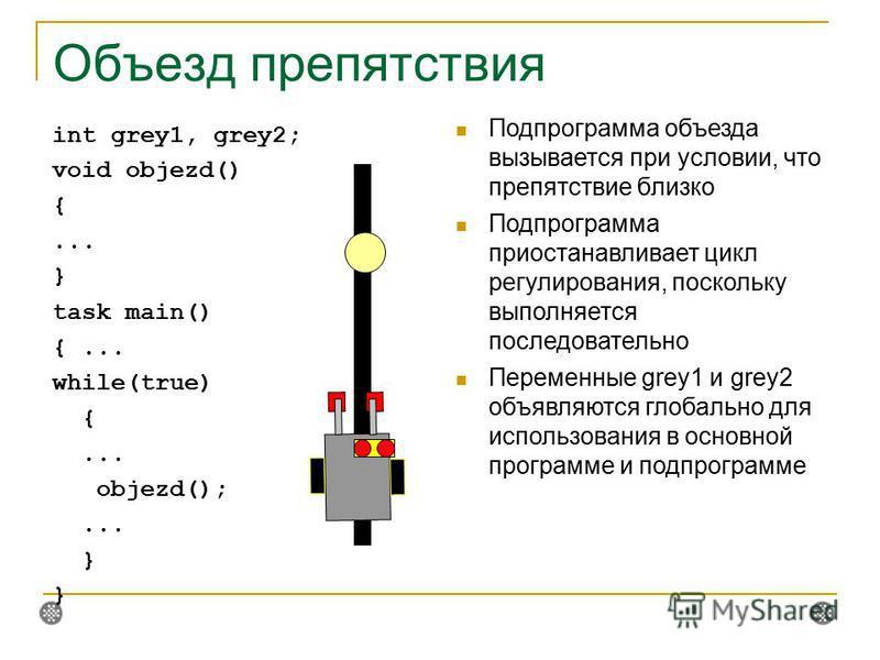 Объезд препятствия int grey1, grey2; void objezd() {... } task main() {... while(true) {... objezd();... } Подпрограмма объезда вызывается при условии, что препятствие близко Подпрограмма приостанавливает цикл регулирования, поскольку выполняется пос