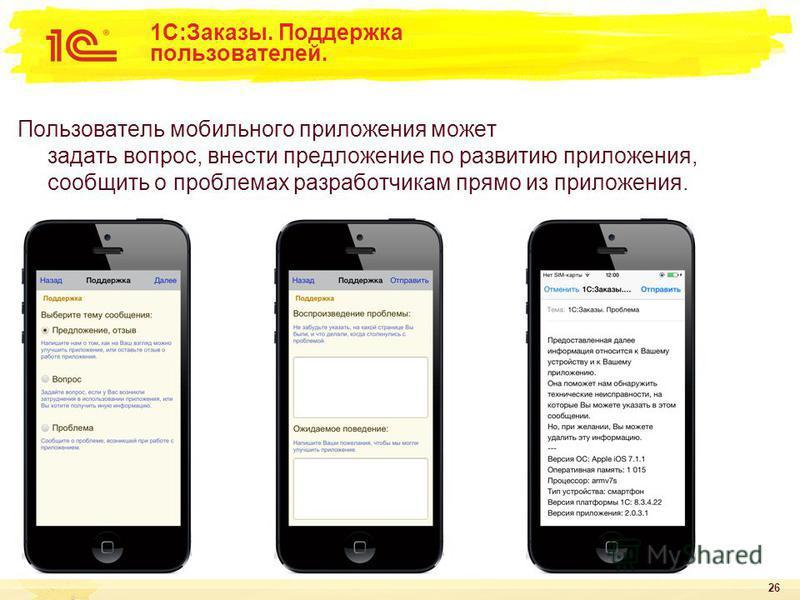 26 1С:Заказы. Поддержка пользователей. Пользователь мобильного приложения может задать вопрос, внести предложение по развитию приложения, сообщить о проблемах разработчикам прямо из приложения.