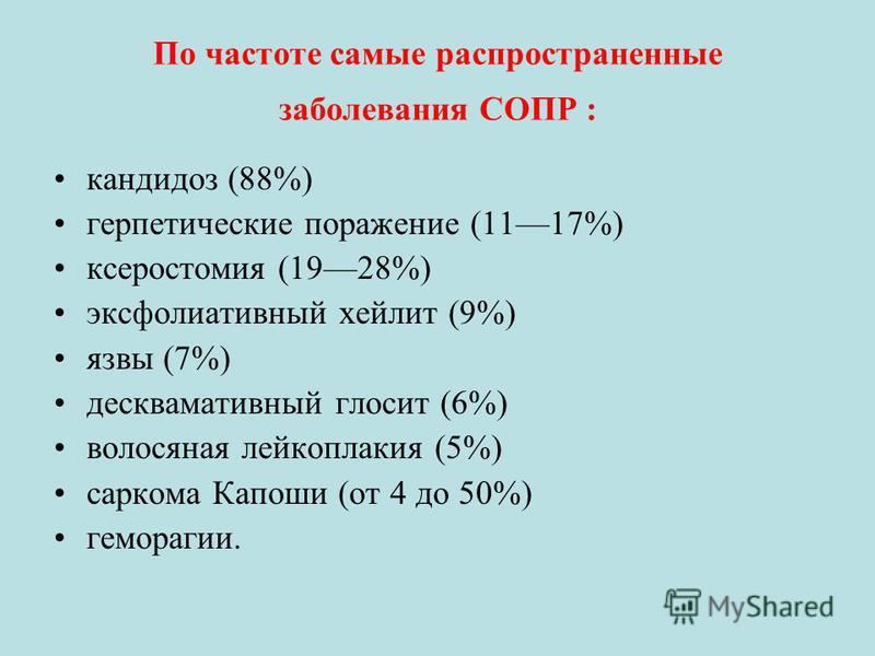 По частоте самые распространенные заболевания СОПР : кандидоз (88%) герпетические поражение (1117%) ксеростомия (1928%) эксфолиативный хейлит (9%) язвы (7%) десквамативный глоссит (6%) волосяная лейкоплакия (5%) саркома Капоши (от 4 до 50%) геморраги
