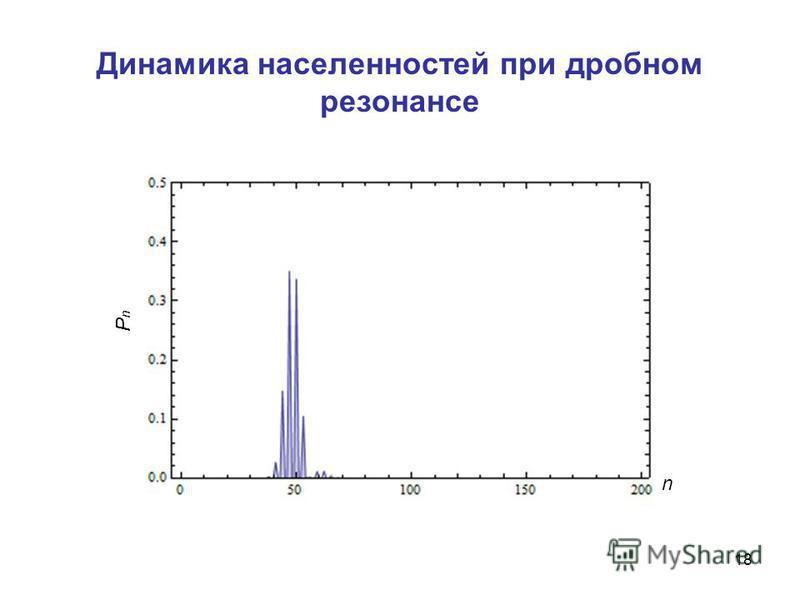 Динамика населенностей при дробном резонансе 18 n PnPn