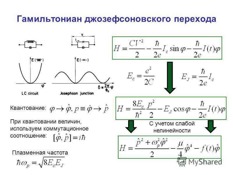 Гамильтониан джозефсоновского перехода При квантовании величин, используем коммутационное соотношение: Квантование: Плазменная частота С учетом слабой нелинейности