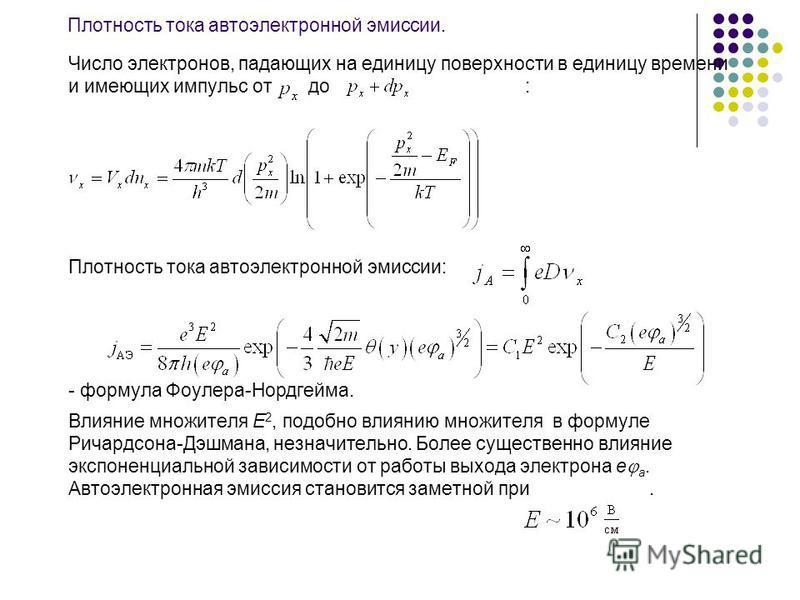 Плотность тока автоэлектронной эмиссии. Число электронов, падающих на единицу поверхности в единицу времени и имеющих импульс от до : Плотность тока автоэлектронной эмиссии: - формула Фоулера-Нордгейма. Влияние множителя E 2, подобно влиянию множител