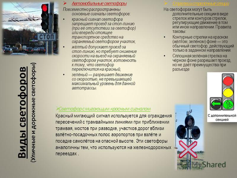 Виды светофоров ( Уличные и дорожные светофоры) Автомобильные светофоры Повсеместно распространены основные сигналы светофоров: красный сигнал светофора запрещает проезд за стоп-линию (при её отсутствии за светофор) или впереди стоящее транспортное с