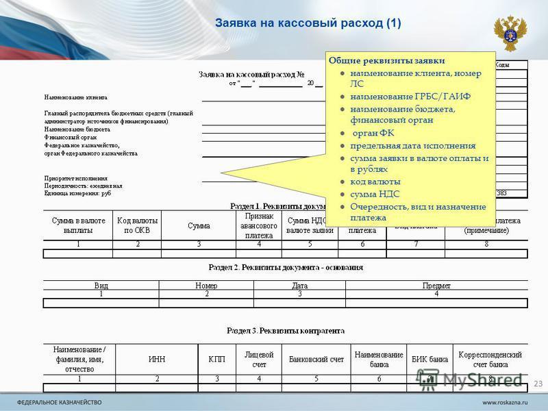 Инструкция по заполнению заявки на кассовый расход по 8н
