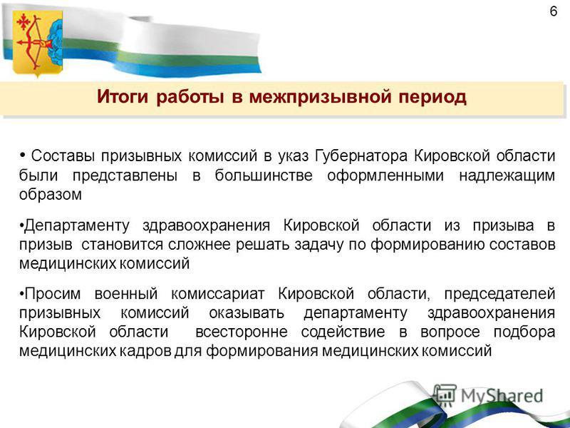 6 Составы призывных комиссий в указ Губернатора Кировской области были представлены в большинстве оформленными надлежащим образом Департаменту здравоохранения Кировской области из призыва в призыв становится сложнее решать задачу по формированию сост