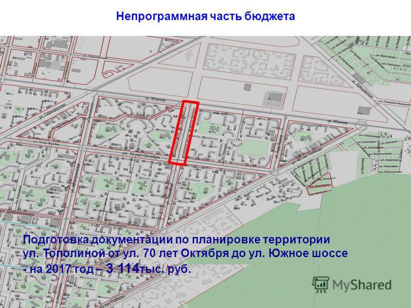Непрограммная часть бюджета Подготовка документации по планировке территории ул. Тополиной от ул. 70 лет Октября до ул. Южное шоссе - на 2017 год – 3 114 тыс. руб.