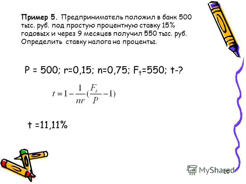 20 Пример 5. Предприниматель положил в банк 500 тыс. руб. под простую процентную ставку 15% годовых и через 9 месяцев получил 550 тыс. руб. Определить ставку налога на проценты. P = 500; r=0,15; n=0,75; F t =550; t-? t =11,11%