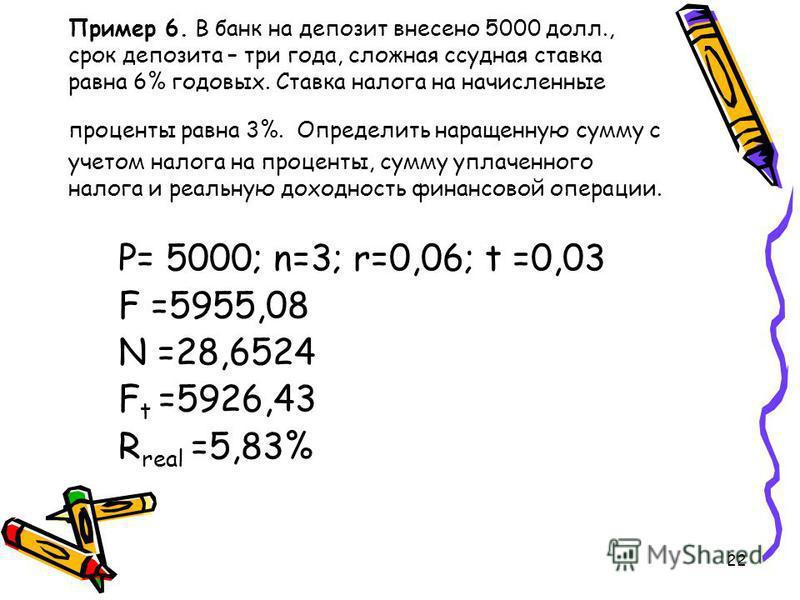 22 Пример 6. В банк на депозит внесено 5000 долл., срок депозита – три года, сложная ссудная ставка равна 6% годовых. Ставка налога на начисленные проценты равна 3%. Определить наращенную сумму с учетом налога на проценты, сумму уплаченного налога и