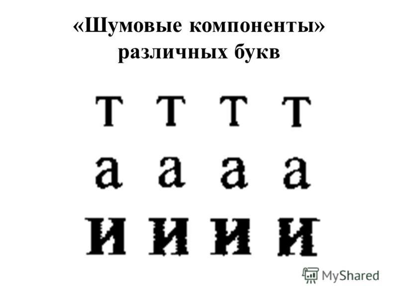 «Шумовые компоненты» различных букв
