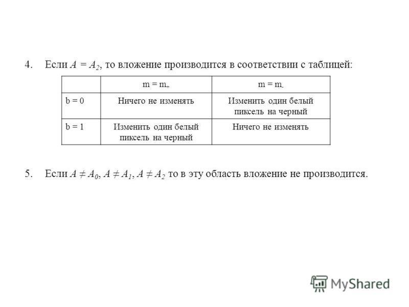 4. Если А = А 2, то вложение производится в соответствии с таблицей: 5. Если А А 0, А А 1, А А 2 то в эту область вложение не производится. m = m + m = m - b = 0Ничего не изменять Изменить один белый пиксель на черный b = 1Изменить один белый пиксель