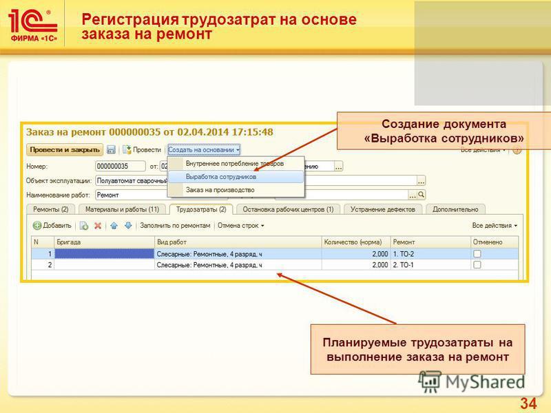 34 Регистрация трудозатрат на основе заказа на ремонт Создание документа «Выработка сотрудников» Планируемые трудозатраты на выполнение заказа на ремонт