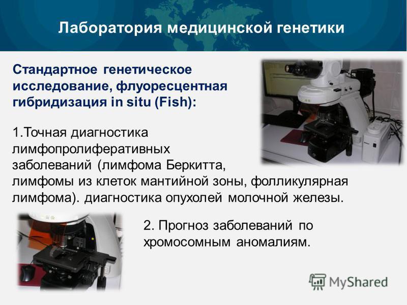 Лаборатория медицинской генетики Стандартное генетическое исследование, флуоресцентная гибридизация in situ (Fish): 1. Точная диагностика лимфопролиферативных заболеваний (лимфома Беркитта, лимфомы из клеток мантийной зоны, фолликулярная лимфома). ди