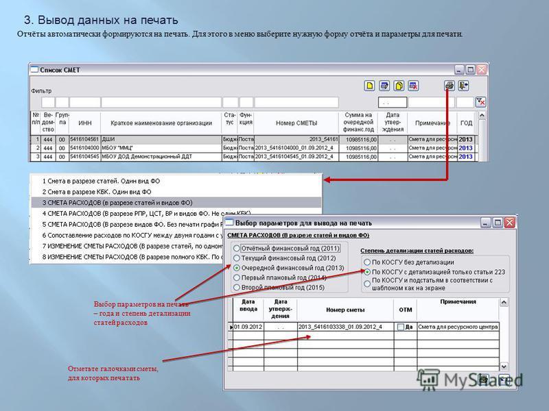 Отчёты автоматически формируются на печать. Для этого в меню выберите нужную форму отчёта и параметры для печати. 3. Вывод данных на печать Выбор параметров на печать – года и степень детализации статей расходов Отметьте галочками сметы, для которых