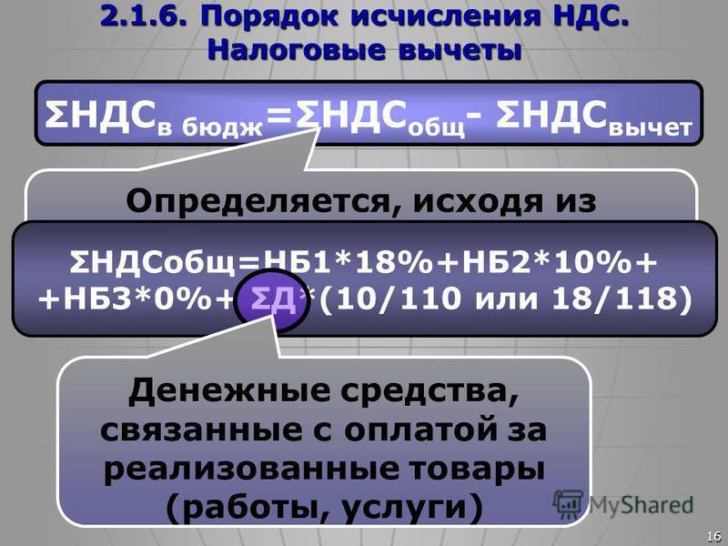 16 2.1.6. Порядок исчисления НДС. Налоговые вычеты ΣНДС в бюдж =ΣНДС общ - ΣНДС вычет Определяется, исходя из налоговой базы с применением соответствующих ставок НДС ΣНДСобщ=НБ1*18%+НБ2*10%+ +НБ3*0%+ ΣД*(10/110 или 18/118) Денежные средства, связанны