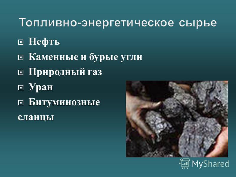 Нефть Каменные и бурые угли Природный газ Уран Битуминозные сланцы