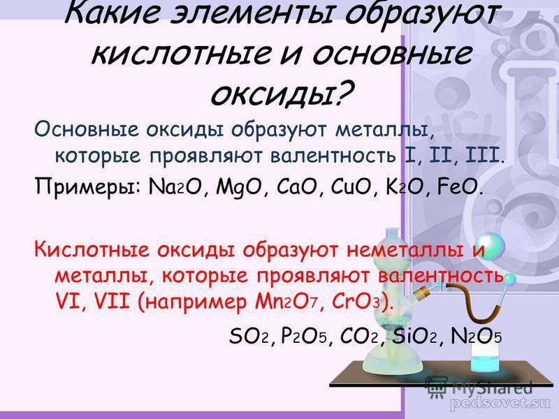 Какие элементы образуют кислотные и основные оксиды? Основные оксиды образуют металлы, которые проявляют валентность I, II, III. Примеры: Na 2 O, MgO, CaO, CuO, K 2 O, FeO. Кислотные оксиды образуют неметаллы и металлы, которые проявляют валентность