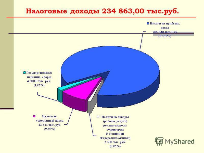 Налоговые доходы 234 863,00 тыс.руб.