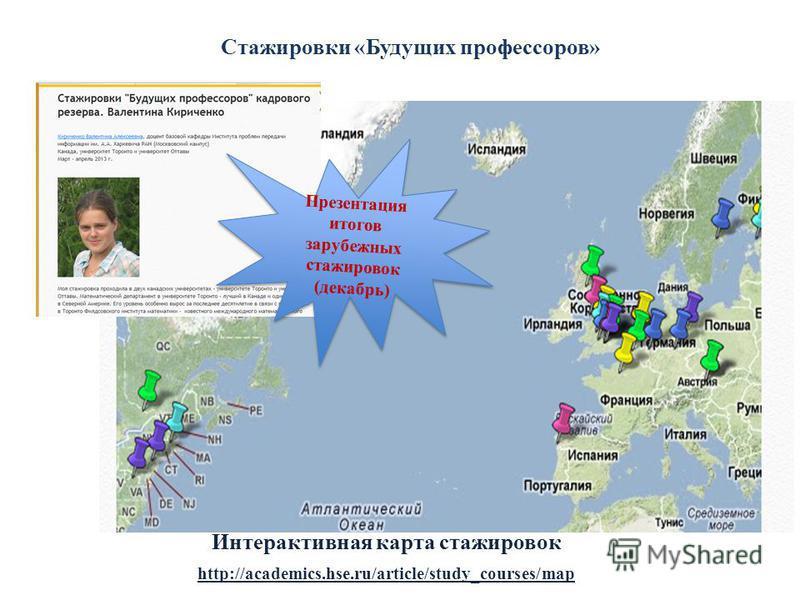 Стажировки «Будущих профессоров» http://academics.hse.ru/article/study_courses/map Интерактивная карта стажировок Презентация итогов зарубежных стажировок (декабрь)