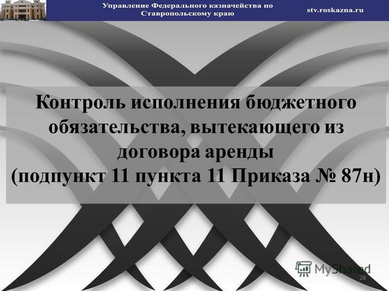 28 Контроль исполнения бюджетного обязательства, вытекающего из договора аренды (подпункт 11 пункта 11 Приказа 87 н)