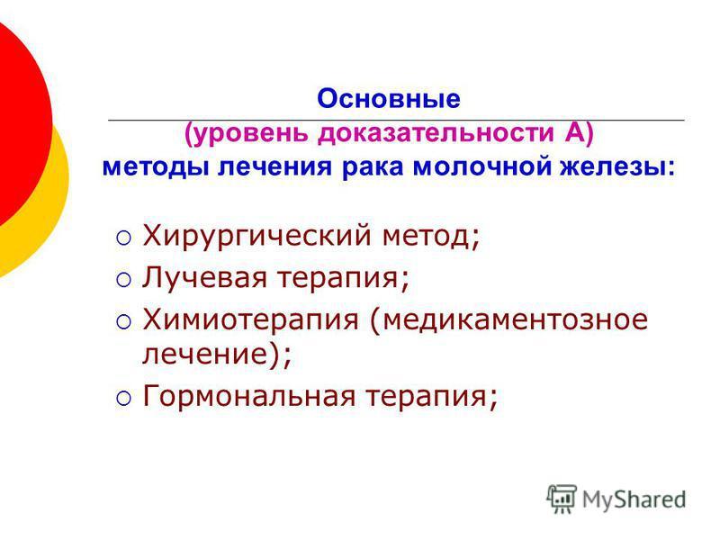 Основные (уровень доказательности А) методы лечения рака молочной железы: Хирургический метод; Лучевая терапия; Химиотерапия (медикаментозное лечение); Гормональная терапия;