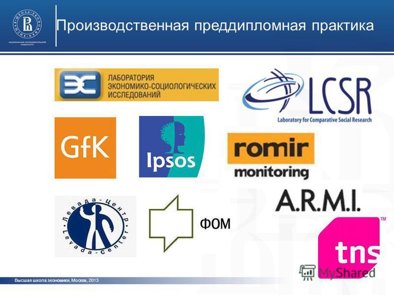 Производственная преддипломная практика Высшая школа экономики, Москва, 2013