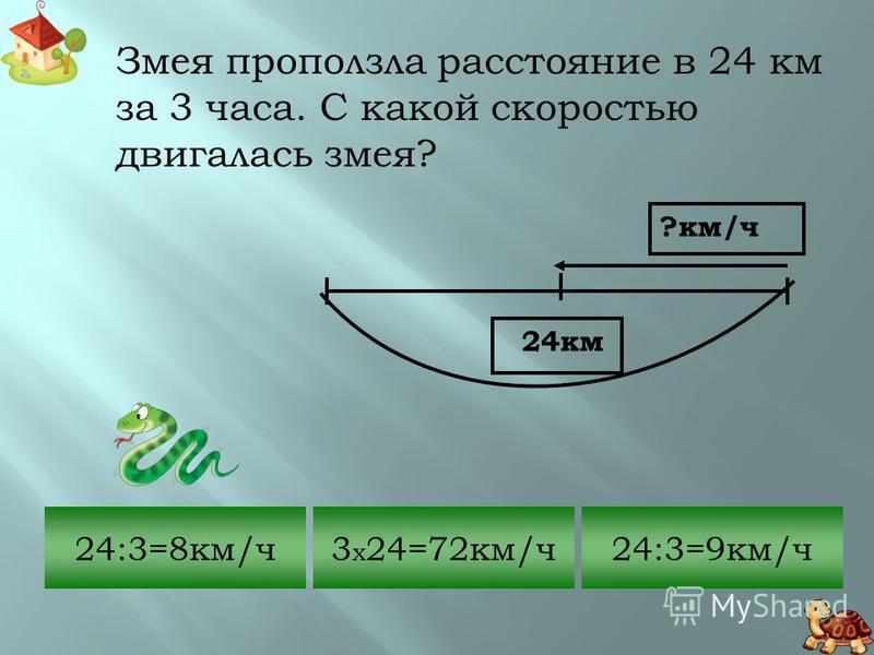 Красноухая черепаха, убегая от опасности, развила скорость 15 км/ч. Какое расстояние она пробежит за 120 мин.? 120:15=8 км 15 x (120:60)=30 км 15 x 120=180 км ? км 15 км/ч