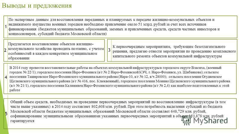 По экспертным данным для восстановления переданных и планируемых к передаче жилищно-коммунальных объектов и недвижимого имущества военных городков необходимо привлечение около 51 млрд. рублей за счет всех источников финансирования (бюджетов муниципал
