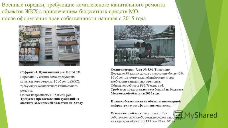Военные городки, требующие комплексного капитального ремонта объектов ЖКХ с привлечением бюджетных средств МО, после оформления прав собственности начиная с 2015 года Софрино-1. Пушкинский р-н. В/Г 19. Передано 32 жилых дома, требующих капитального р