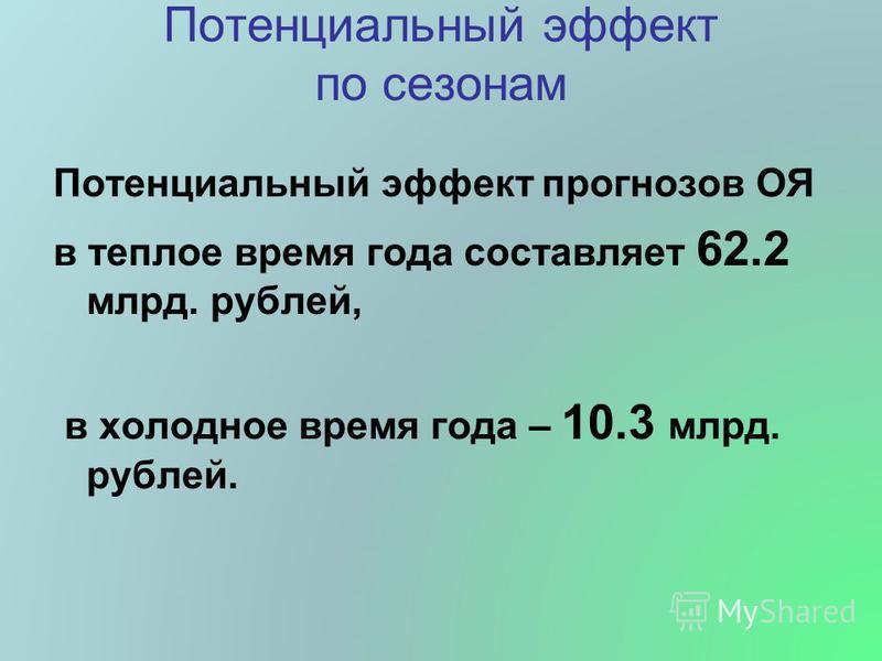 Потенциальный эффект по сезонам Потенциальный эффект прогнозов ОЯ в теплое время года составляет 62.2 млрд. рублей, в холодное время года – 10.3 млрд. рублей.