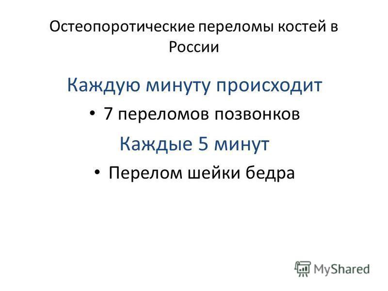 Остеопоротические переломмы костей в России Каждую минуту происходит 7 переломмов позвонков Каждые 5 минут Перелом шейки бедра