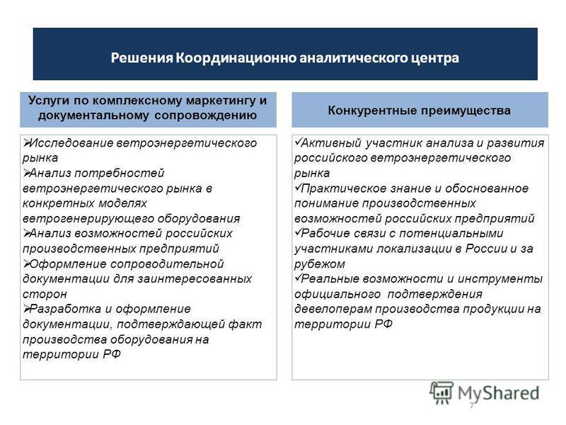 7 Решения Координационно аналитического центра Исследование ветроэнергетического рынка Анализ потребностей ветроэнергетического рынка в конкретных моделях ветра генерирующего оборудования Анализ возможностей российских производственных предприятий Оф