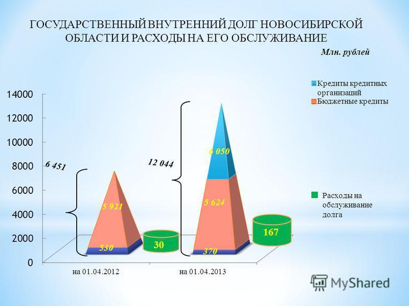 ГОСУДАРСТВЕННЫЙ ВНУТРЕННИЙ ДОЛГ НОВОСИБИРСКОЙ ОБЛАСТИ И РАСХОДЫ НА ЕГО ОБСЛУЖИВАНИЕ 6 050 Млн. рублей